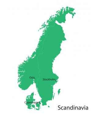 green map of Scandinavian countries