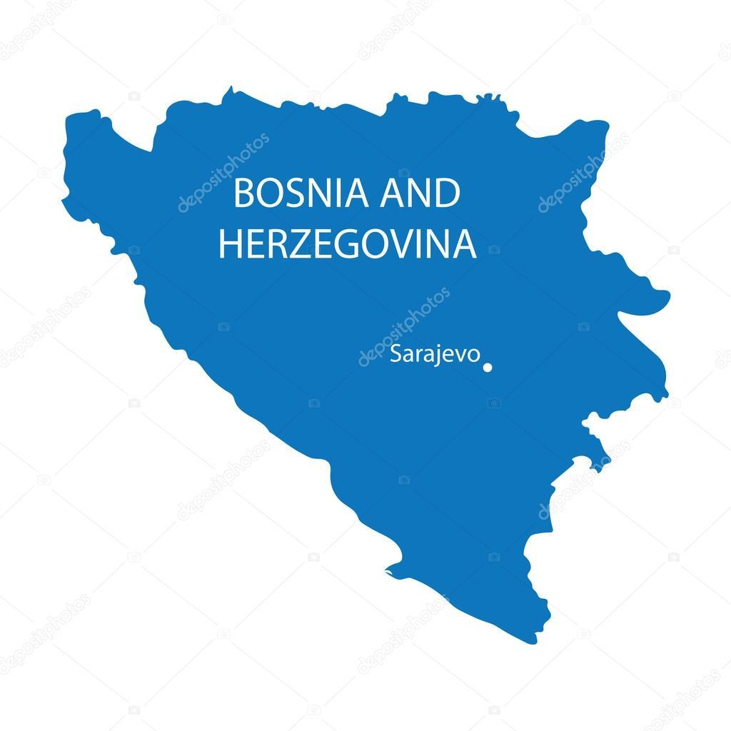 Karta Bosnien Och Hercegovina.Bla Karta Over Bosnien Och Hercegovina Med Uppgift Om Sarajevo
