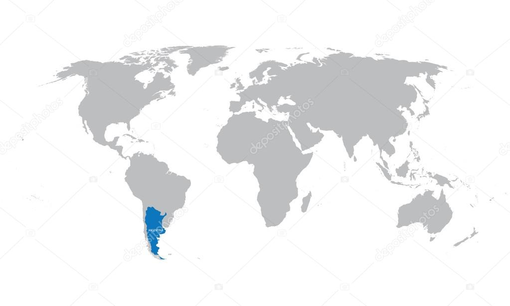 World Map Of Argentina.World Map With Indication Of Argentina Stock Vector C Chrupka