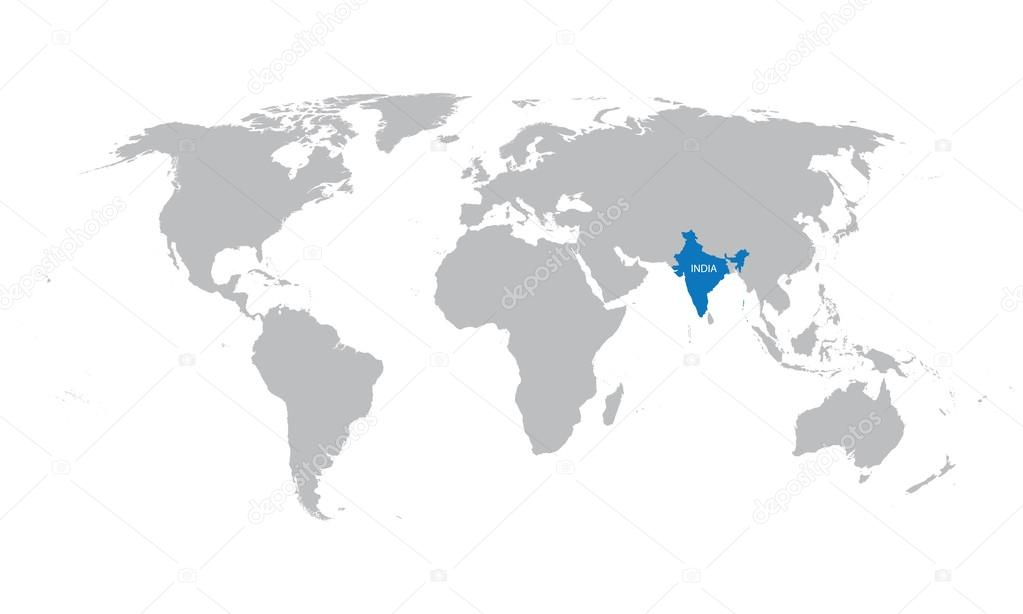 World map with indication of india vector de stock chrupka 77003635 world map with indication of india vector de stock gumiabroncs Images