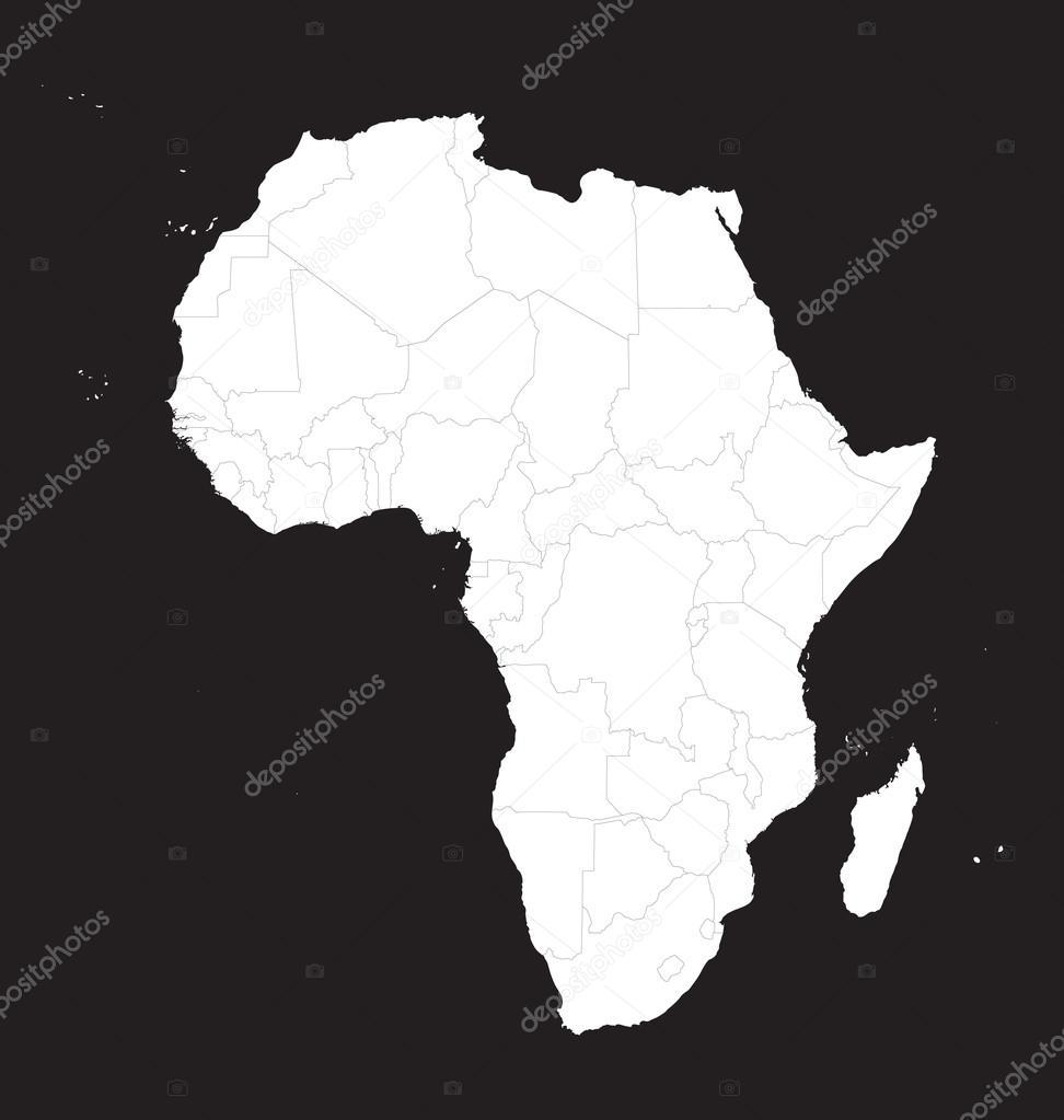 Carte De Lafrique Noir Et Blanc.Carte Noir Et Blanc De L Afrique Image Vectorielle Chrupka