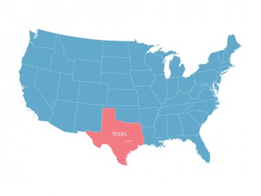 vector map of United States with indication of Texas