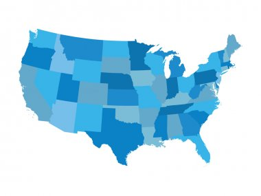 blue vector map of United States