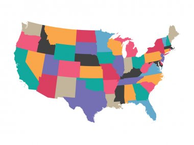 colorful vector map of United States