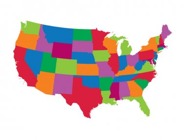 colorful map of United States