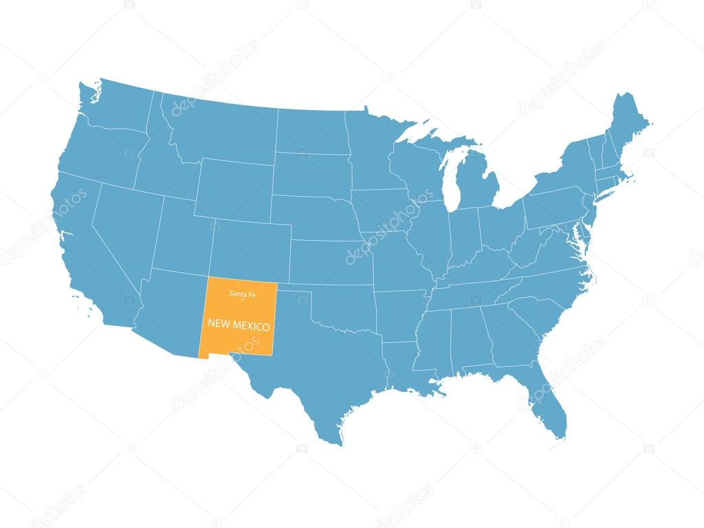 blue vector map of United States with indication of New Mexico ...