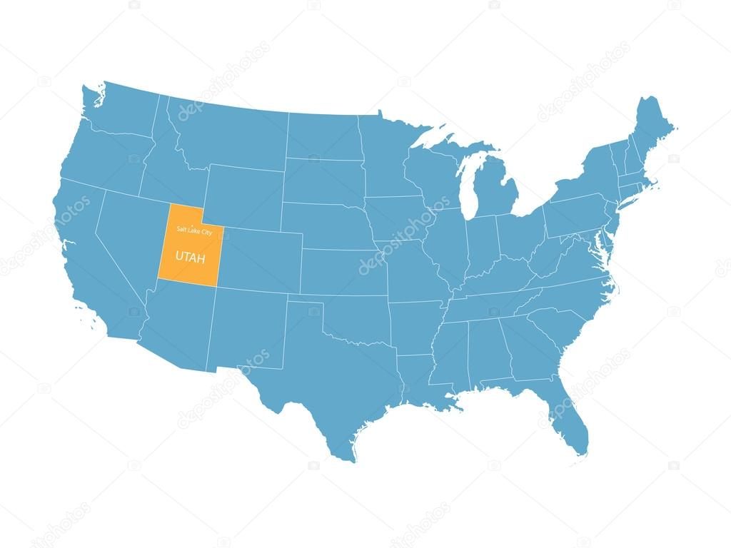 Utah United States Map.Blue Vector Map Of United States With Indication Of Utah Stock