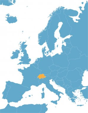 Blue Europe vector map with indication of Switzerland