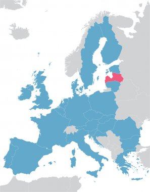 Europe and European Union map with indication of Latvia