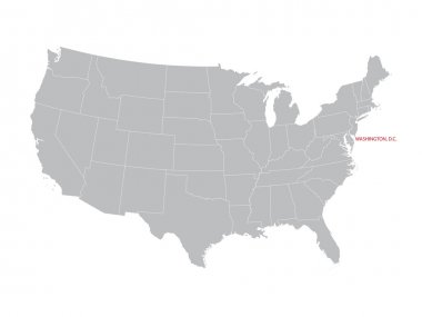 Vector map of United States with indication of Washington, D.C.