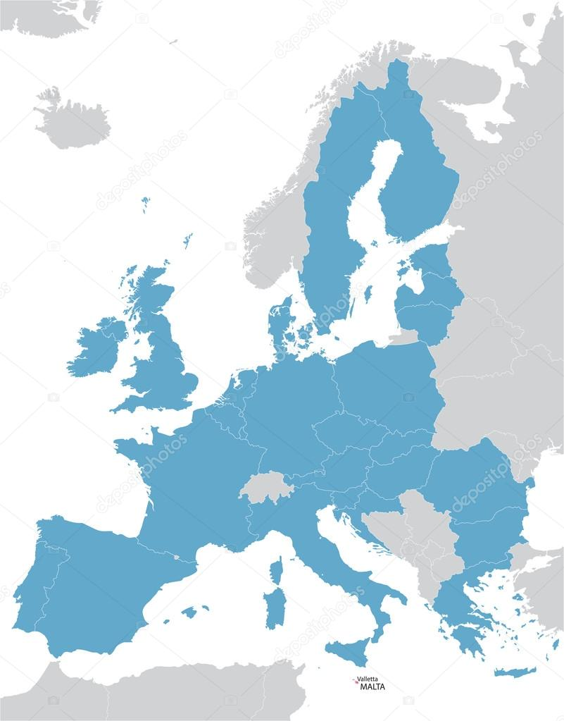 Malta On Map Of Europe.Europe And European Union Map With Indication Of Malta Stock