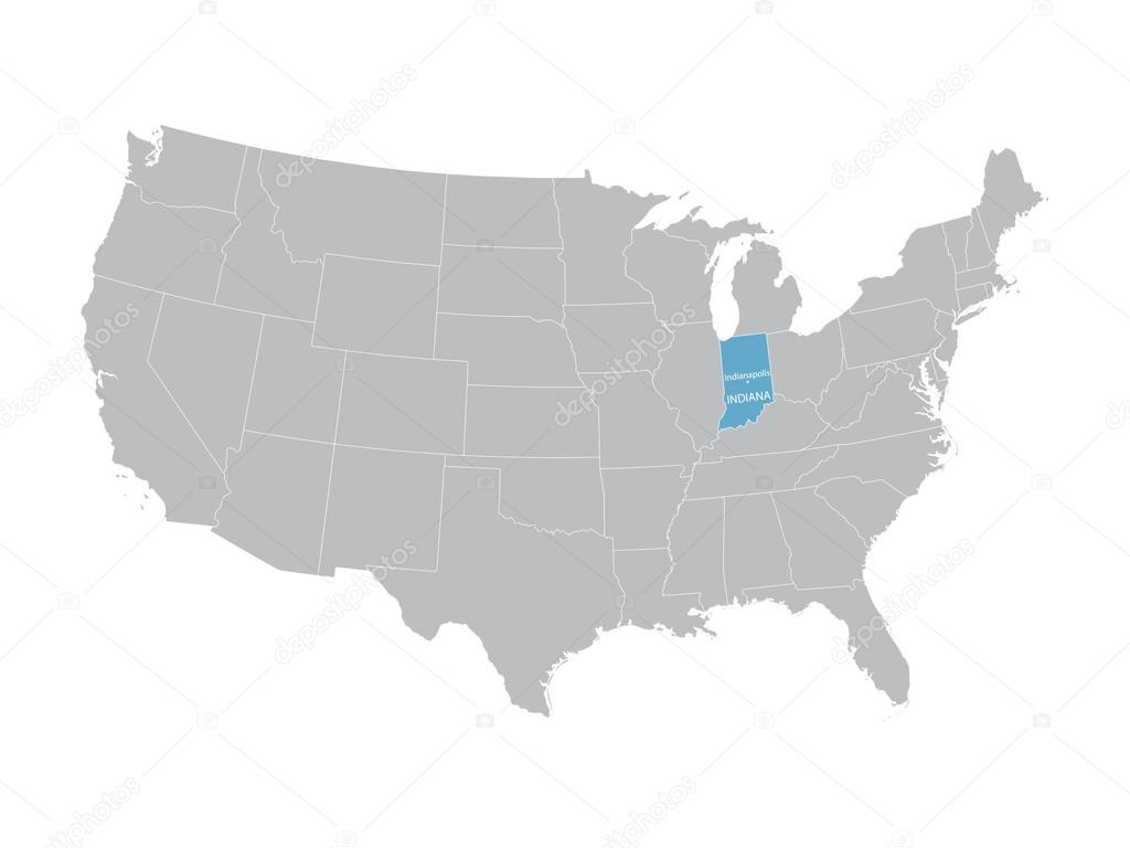 vector map of United States with indication of Indiana — Stock ...