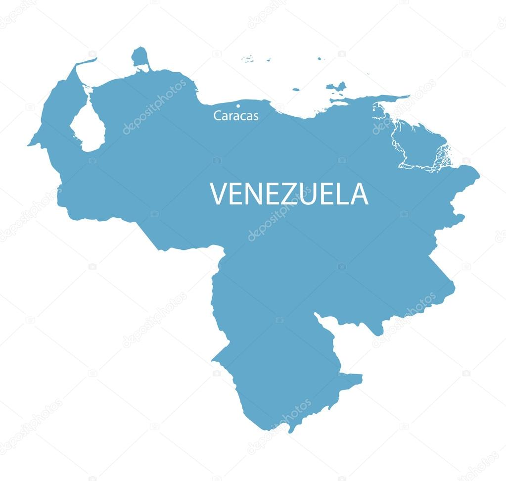 blue map of Venezuela with indication of Caracas — Stock Vector ...