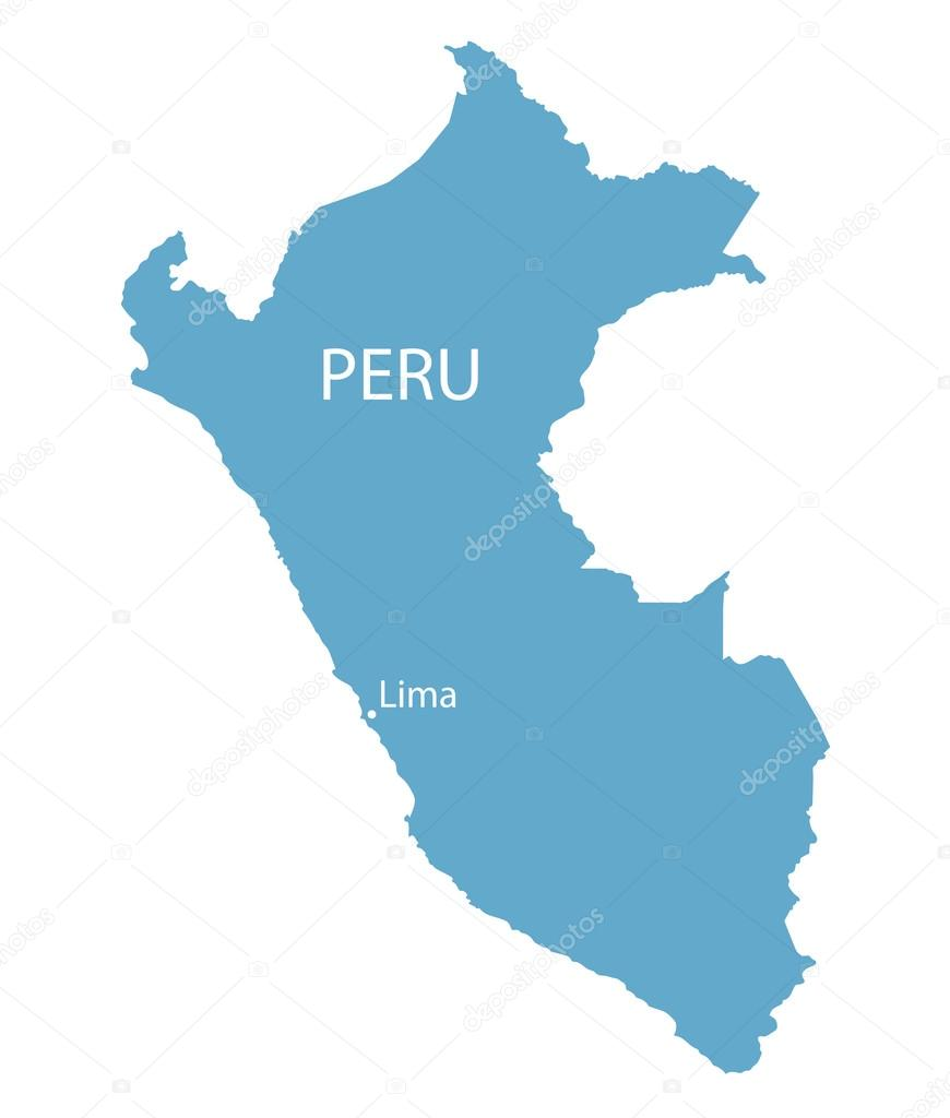 Lima Peru Karte.Blaue Karte Von Peru Mit Angabe Von Lima Stockvektor Chrupka