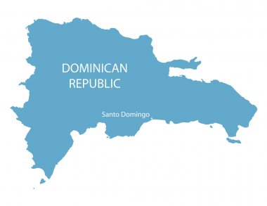 blue map od Dominican Republic with indication of Santo Domingo
