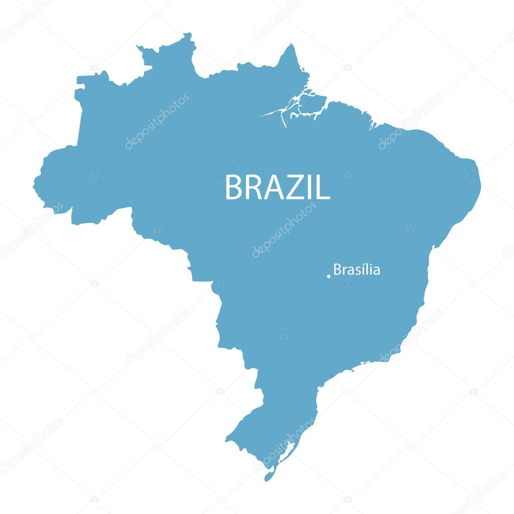 Blue map of Brazil with indication of Brasilia Stock Vector