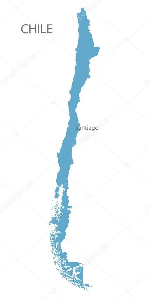 Azul mapa de chile con indicaci n de santiago archivo for Calles de santiago de chile