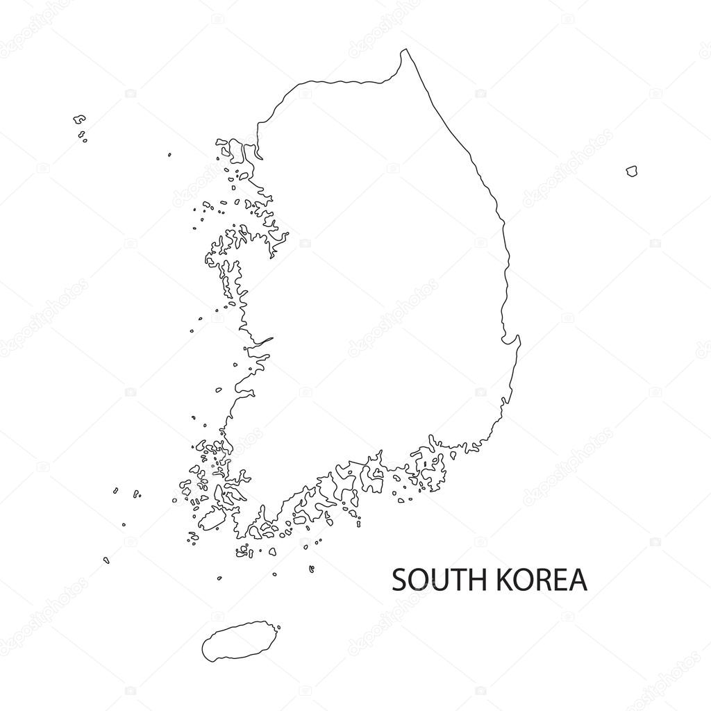Outline Of South Korea Map Stock Vector Chrupka - South korea map vector