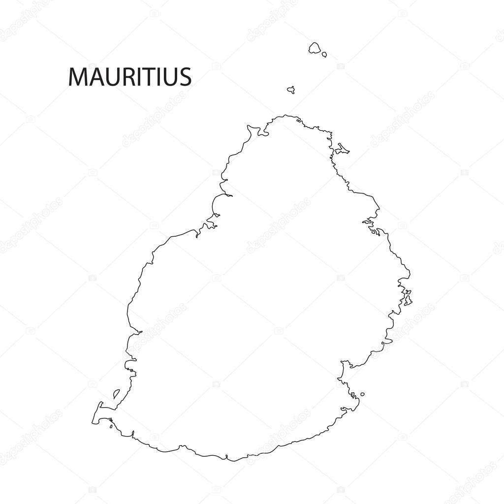 Line Art Resolution : Contour de la carte l île maurice — image vectorielle