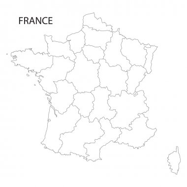 outline of France map (all regions on separate layers)