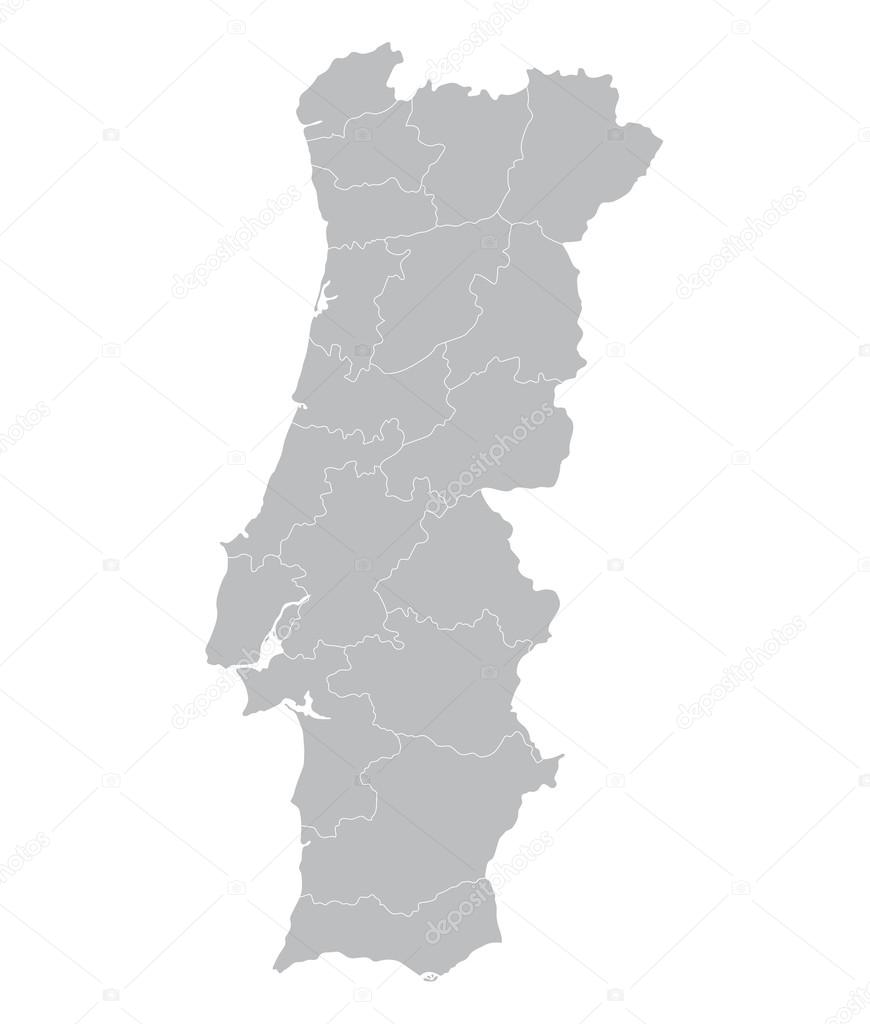 Grey Map Of Portugal Districts On Separate Layers Stock Vector - Portugal map vector