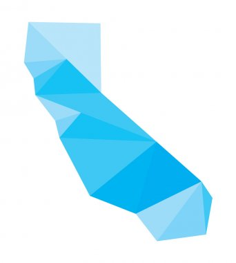 blue polygonal vector map of California