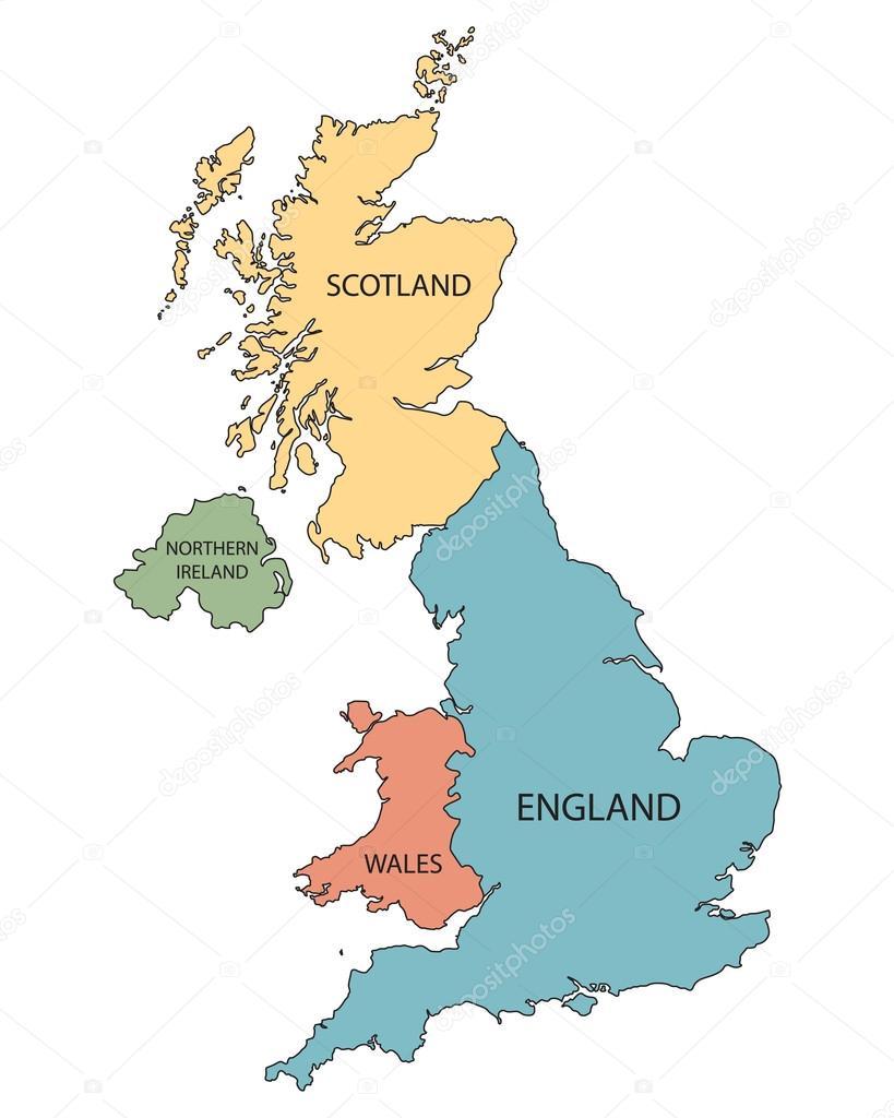 karta storbritannien färgglada karta över länderna i Storbritannien — Stock Vektor  karta storbritannien
