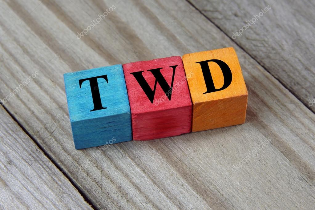 Twd Taiwan New Dollar Symbol On Colorful Wooden Cubes Stock