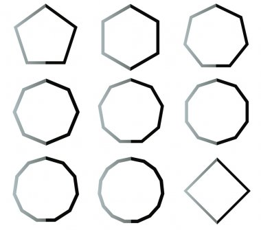 Polygon black and white shapes set illustration