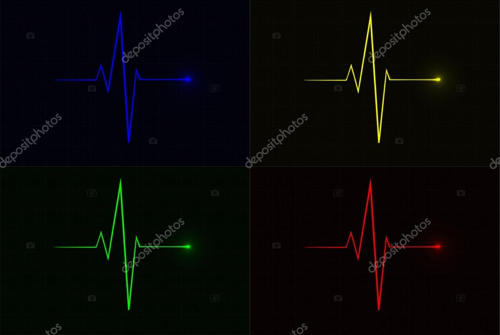 Colored vector pulse icons over cardiogram grid