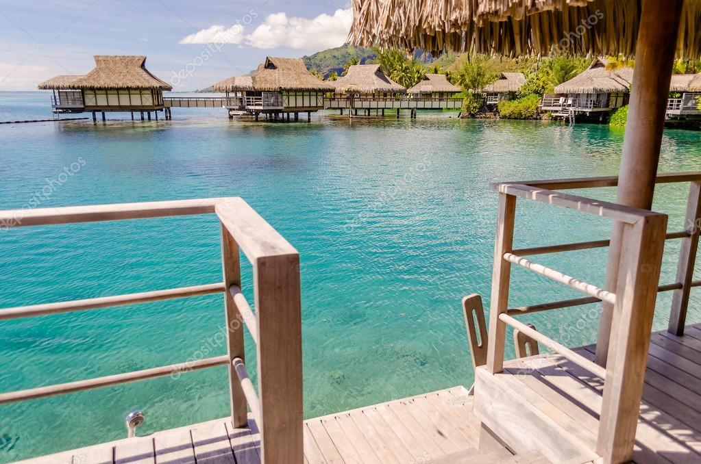 Overwater Bungalows French Polynesia Stock Photo