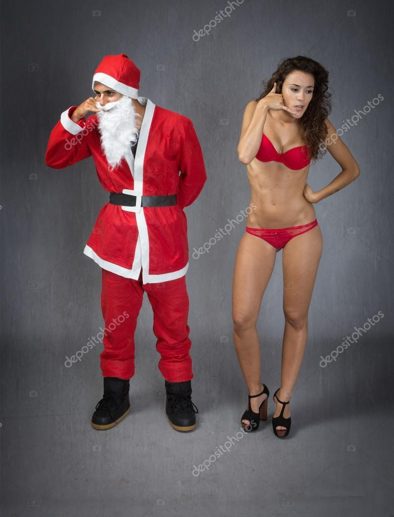 Santa Claus with woman