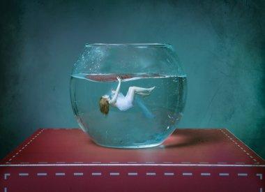suicide girl in an aquarium bowl