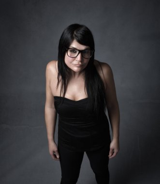 nerd face for woman with black glasses
