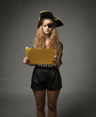 pirate looking for treasure with yellow map