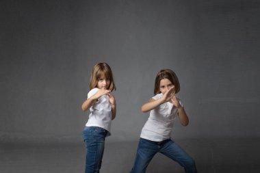 children in a karate defense