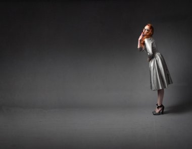retro woman dancing and moving with elegance