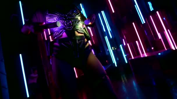 sexual body of slender stripper in night club, lady is dancing in darkness, erotic leather lingerie