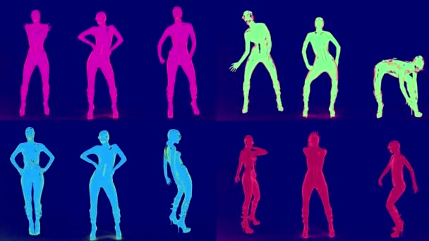 women are dancing in psychedelic style, changing neon lights, female silhouettes