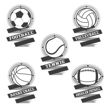 Sports balls logos. Football, volleyball, basketball, american f