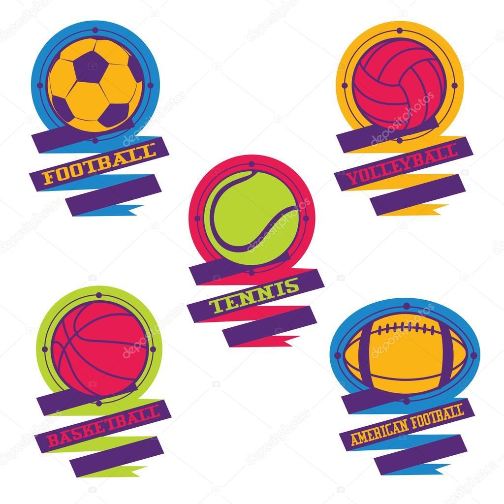 68c6f2627537cf Барвисті спортивні м'ячі логотипи та емблеми з стрічкою — Вектор від ...
