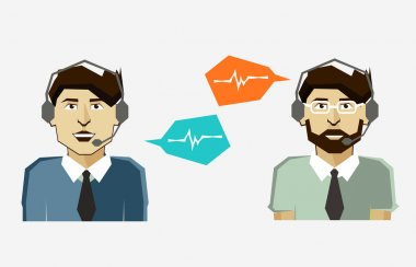 Male call center avatar icons with speech bubbles.