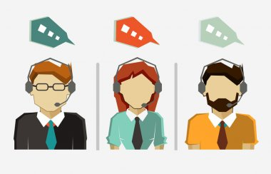 Male and female call center avatar icons with speech bubbles.