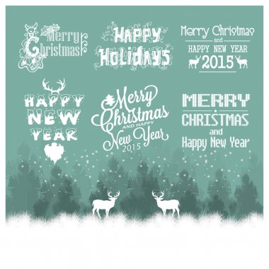 Hand drawn Christmas and Happy New Year decoration set of callig