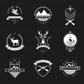 Fotografie Set of  hunting, camping, fishing, armory and shooters logo, em