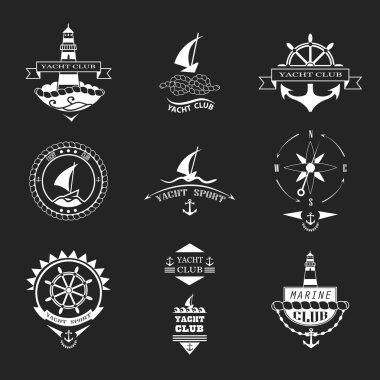 Set of yacht club logos.
