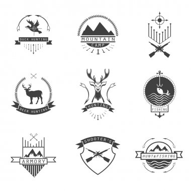 Set of  hunting, camping, fishing, armory and shooter's logo, em