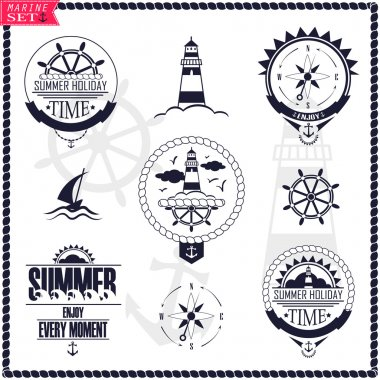 Set of vintage marine logos. Vector logotypes and badges with y