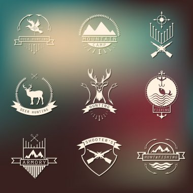 Set of camping and  hunting logos. Mountain camp,fishing, deer h