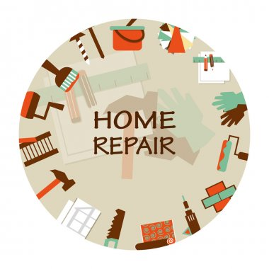 Home repair emblem. Working tools icons.